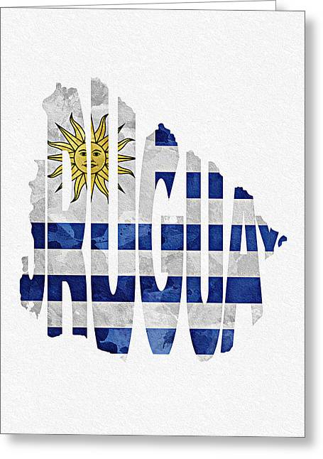 Europe Mixed Media Greeting Cards - Uruguay Typographic Map Flag Greeting Card by Ayse Deniz