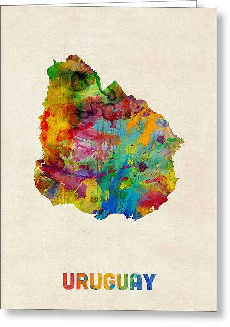 Maps Greeting Cards - Uruguay Watercolor Map Greeting Card by Michael Tompsett