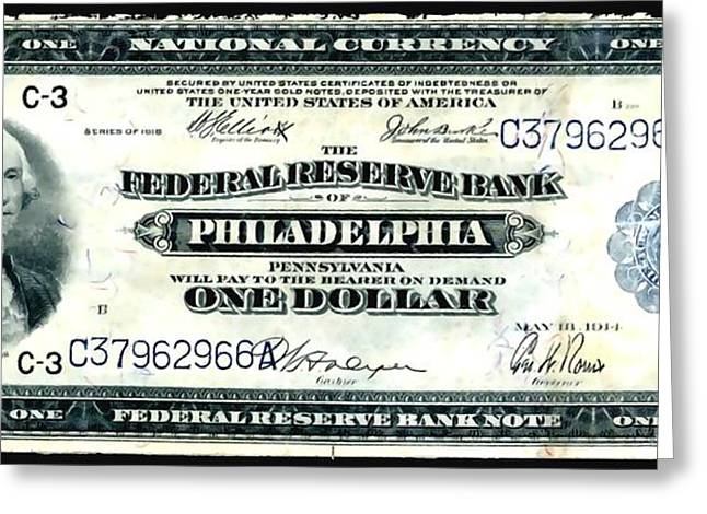 Civil Liberties Paintings Greeting Cards - U.S. 1918 one dollar Federal Reserve Note  Greeting Card by Lanjee Chee