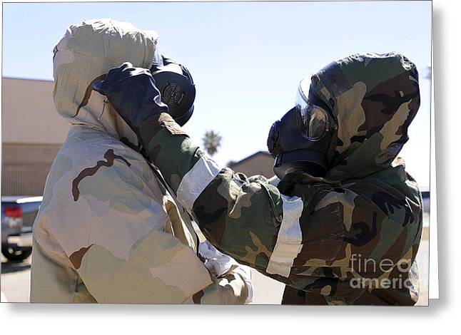 Contamination Greeting Cards - U.s. Air Force Airmen Wearing Mission Greeting Card by Stocktrek Images