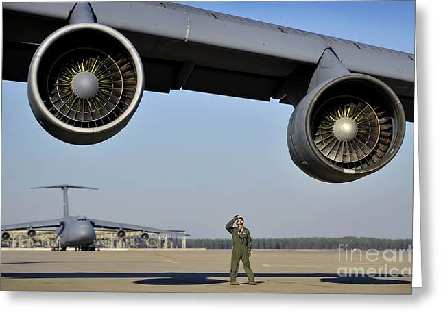 Scrutiny Greeting Cards - U.s. Air Force Crew Chief Performs Greeting Card by Stocktrek Images