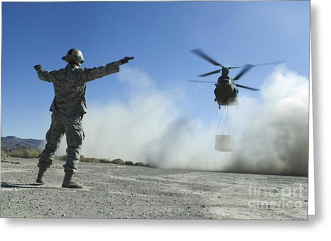 Drop Zone Greeting Cards - U.s. Air Force Master Sergeant Guides Greeting Card by Stocktrek Images