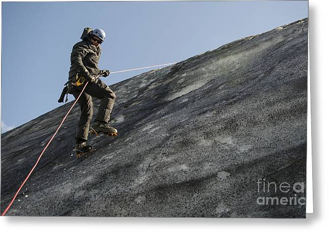 Rappel Greeting Cards - U.s. Air Force Pararescueman Rappels Greeting Card by Stocktrek Images