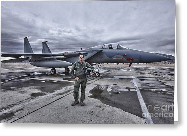 Hand On Waist Greeting Cards - U.s. Air Force Pilot Standing In Front Greeting Card by Terry Moore