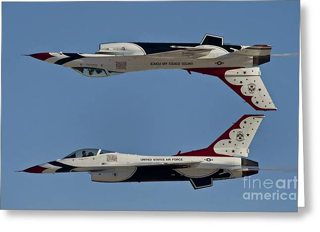 Cooperation Greeting Cards - U.s. Air Force Thunderbirds Demonstrate Greeting Card by Stocktrek Images