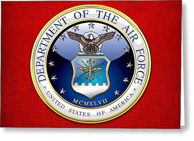 Best Sellers -  - Patch Greeting Cards - U.S. Air Force - USAF Emblem Greeting Card by Serge Averbukh