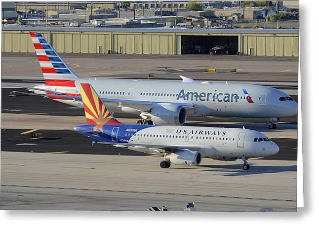 American Airways Greeting Cards - US Airways Airbus A319 N826AW Arizona American Boeing 787 N801AC Phoenix Sky Harbor March 10 2015 Greeting Card by Brian Lockett