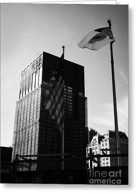 Manhatan Greeting Cards - US and New York flags in front of deutsche bank building due for demolition liberty street ground ze Greeting Card by Joe Fox