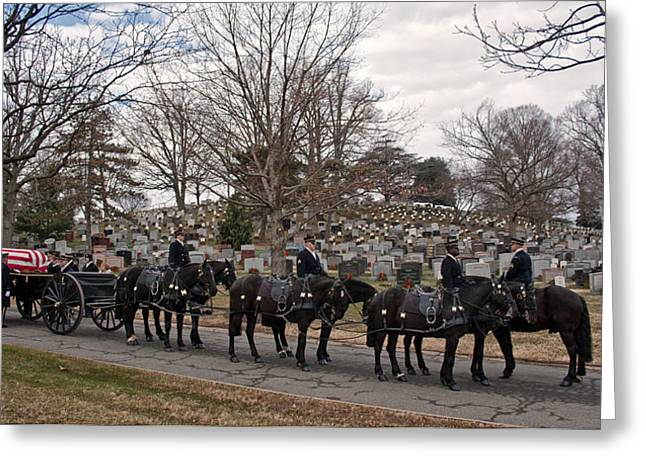 Soldiers National Cemetery Greeting Cards - US Army Caisson at Arlington National Cemetery Greeting Card by Jack Nevitt