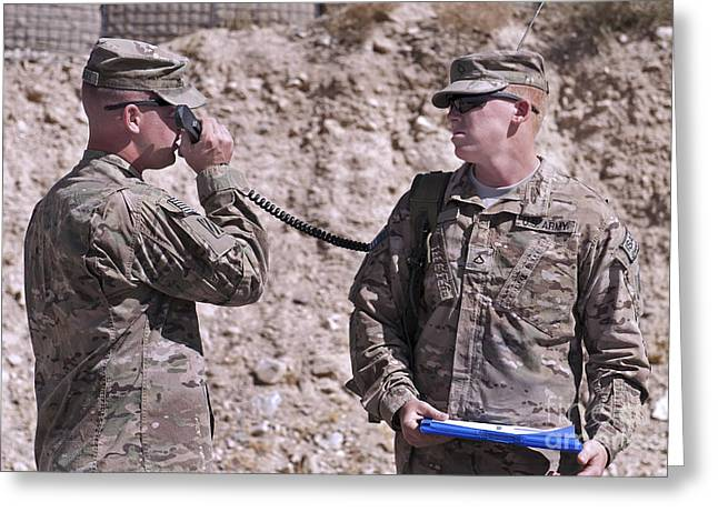 Logar Greeting Cards - U.s. Army Chief Receives Coordinates Greeting Card by Stocktrek Images