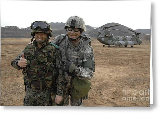 Cooperation Greeting Cards - U.s. Army Commander, Right Greeting Card by Stocktrek Images