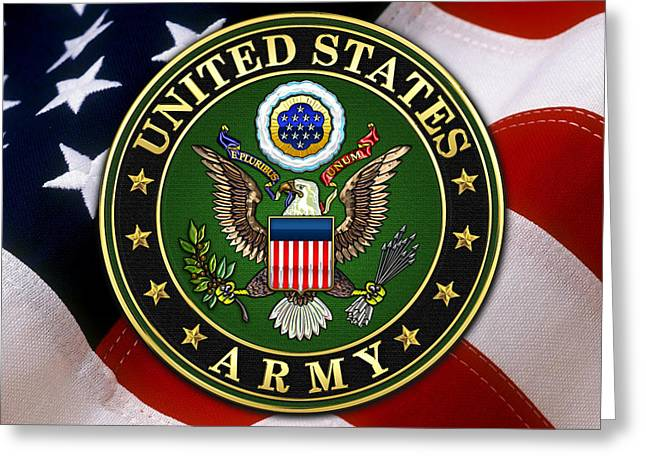 Patch Greeting Cards - U.S. Army Emblem over American Flag. Greeting Card by Serge Averbukh
