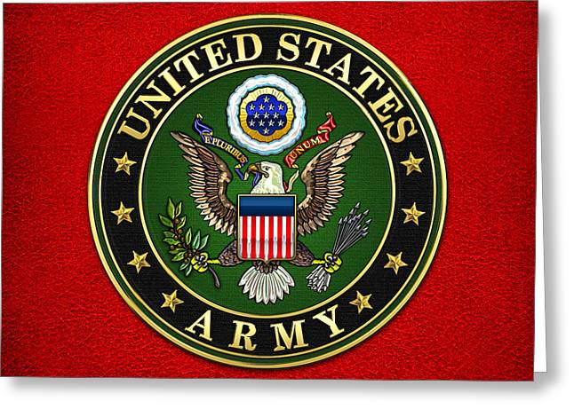 Patch Greeting Cards - U.S. Army Emblem Greeting Card by Serge Averbukh