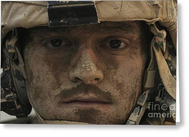 Close Up Buffalo Greeting Cards - U.s. Army Infantryman Greeting Card by Stocktrek Images