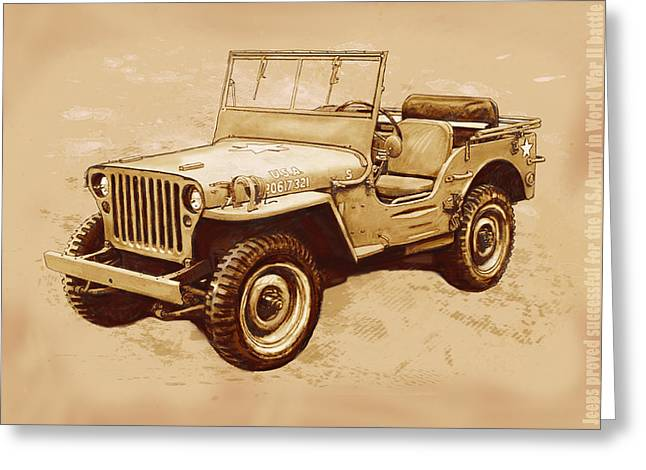 Auto-portrait Greeting Cards - US Army Jeep in world war 2 - Stylised modern drawing art sketch Greeting Card by Kim Wang