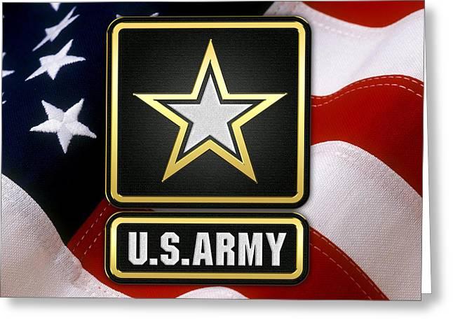 U. S. Army Logo Over American Flag. Greeting Card by Serge Averbukh