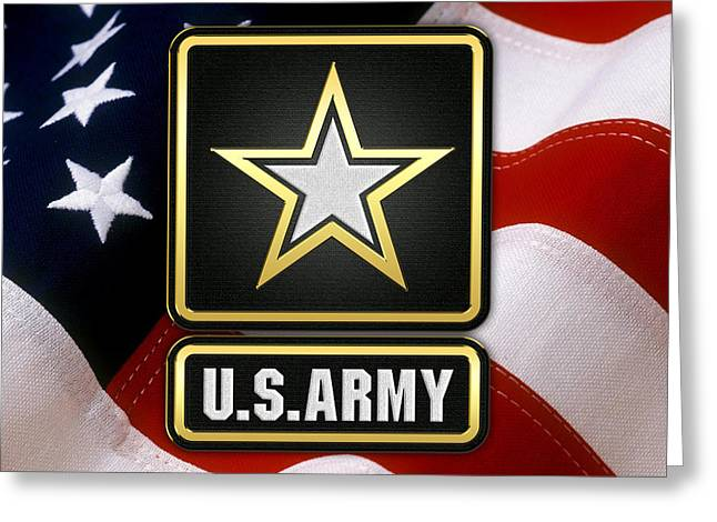Militaria Greeting Cards - U. S. Army Logo over American Flag. Greeting Card by Serge Averbukh