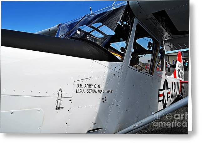 Oes Greeting Cards - US Army O-1E Observation Bird Dog Greeting Card by JW Hanley