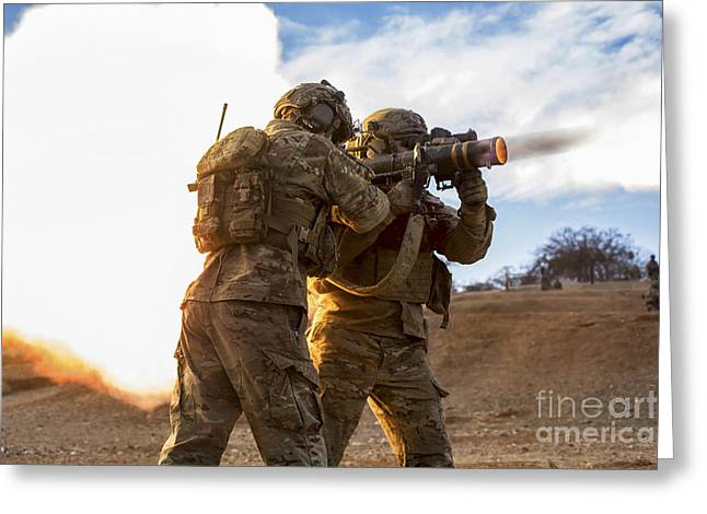 Shoulder-fired Greeting Cards - U.s. Army Rangers Fire An At-4 Greeting Card by Stocktrek Images