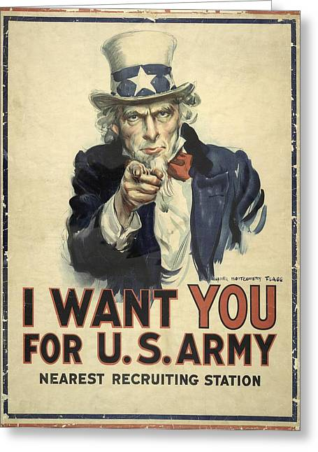 Us Army Recruitment Poster Greeting Card by Library Of Congress