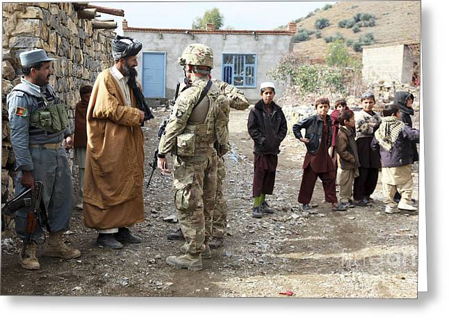 Afghanistan National Police Greeting Cards - U.s. Army Soldier And An Afghan Uniform Greeting Card by Stocktrek Images