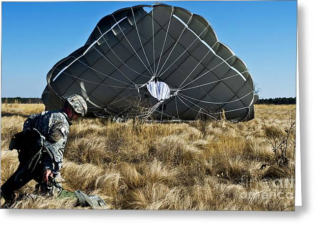 Man Looking Down Greeting Cards - U.s. Army Soldier Lands After A Static Greeting Card by Stocktrek Images