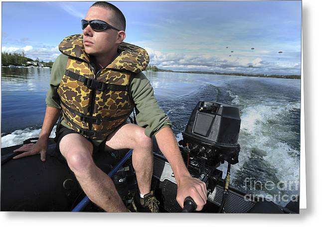 The Big Three Greeting Cards - U.s. Army Soldier Pilots A Zodiac Boat Greeting Card by Stocktrek Images