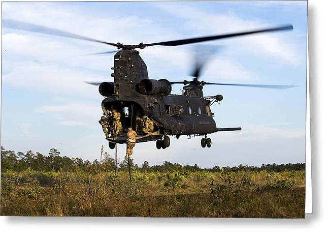 U.s. Army Soldiers Fast-rope Greeting Card by Stocktrek Images