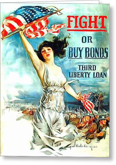 Third Army Greeting Cards - Fight or Buy Bonds Greeting Card by US Army WW I Recruiting Poster