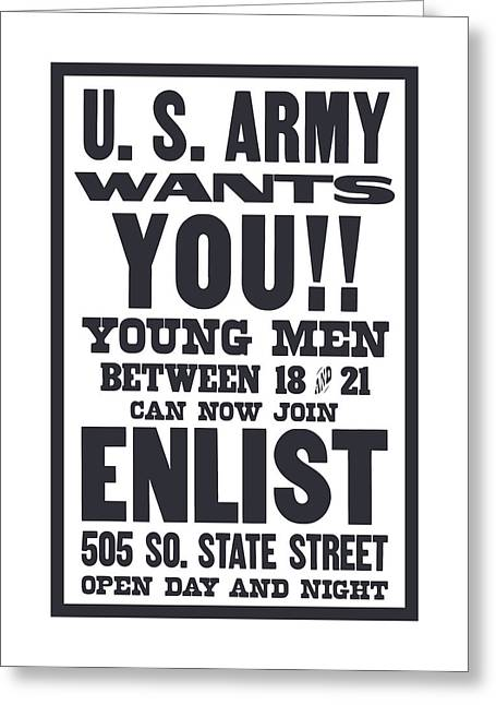 Wwi Greeting Cards - US Army Wants You - WW1 Greeting Card by War Is Hell Store