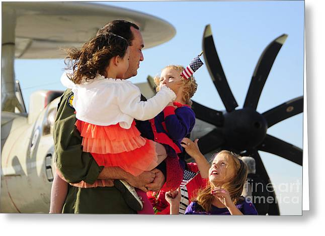 One Parent Greeting Cards - U.s. Aviator Is Greeted Greeting Card by Stocktrek Images
