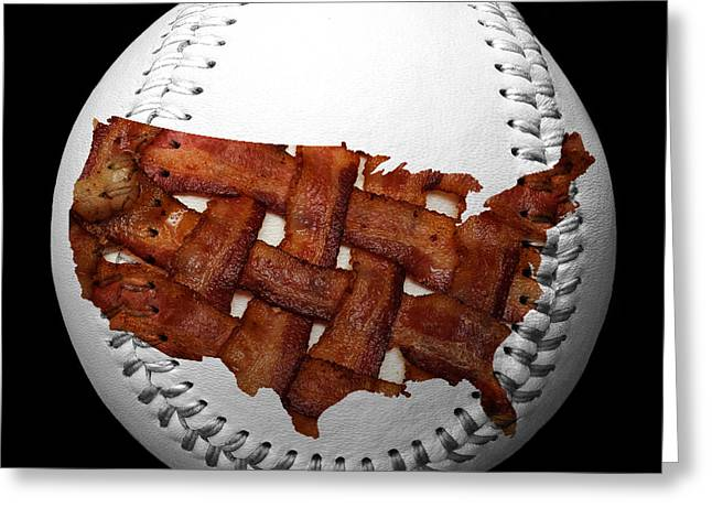 Basket Ball Game Mixed Media Greeting Cards - US Bacon Weave Map Baseball Square Greeting Card by Andee Design