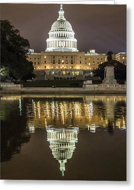 Us Capital Greeting Cards - US Capital at night Greeting Card by John McGraw