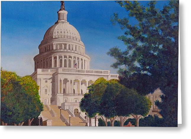 Congressman Paintings Greeting Cards - U.S. Capital Building Greeting Card by Rocky Quate