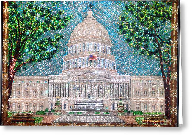 Bass Jewelry Greeting Cards - US Capital Building unique extra-large beadwork art  Greeting Card by Sofia Metal Queen