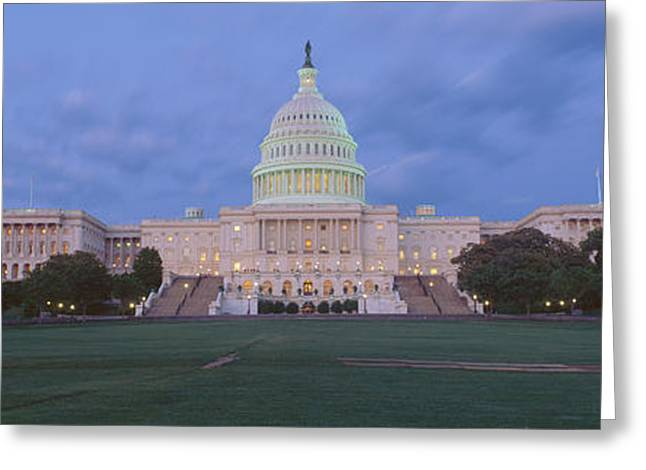United States Capitol Greeting Cards - Us Capitol Building At Dusk, Washington Greeting Card by Panoramic Images