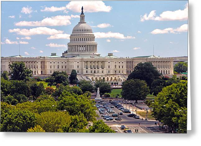 U.s. Capitol Greeting Cards - U.S. Capitol Building Greeting Card by Mitch Cat