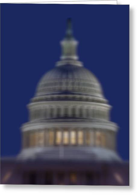 Reflections Greeting Cards - US Capitol Building Reflection Greeting Card by Susan Candelario