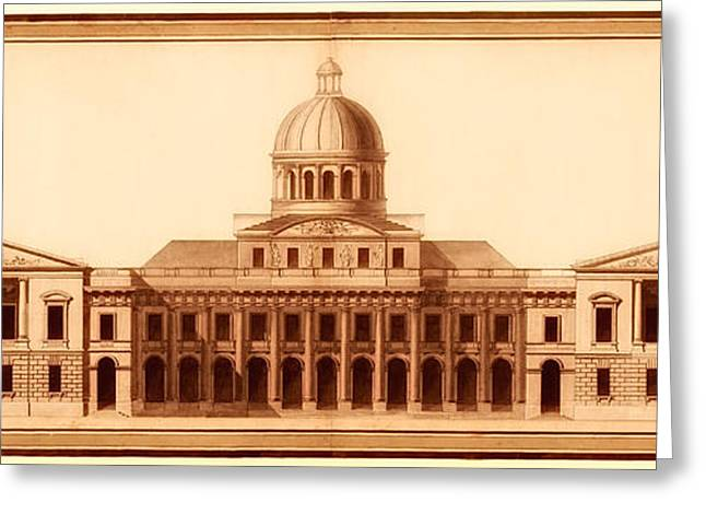 Technical Greeting Cards - U.S. Capitol Design 1791 Greeting Card by Mountain Dreams