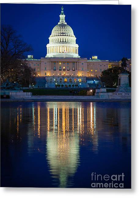 Capitol Hill Greeting Cards - US Capitol Reflections Greeting Card by Inge Johnsson