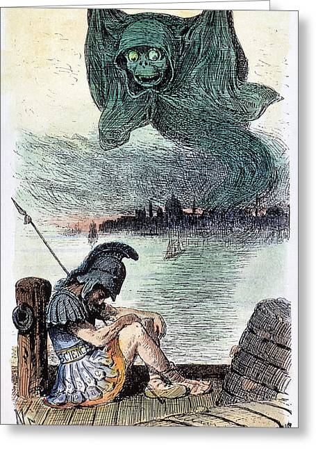 Political Allegory Greeting Cards - U.s. Cartoon: Cholera, 1883 Greeting Card by Granger