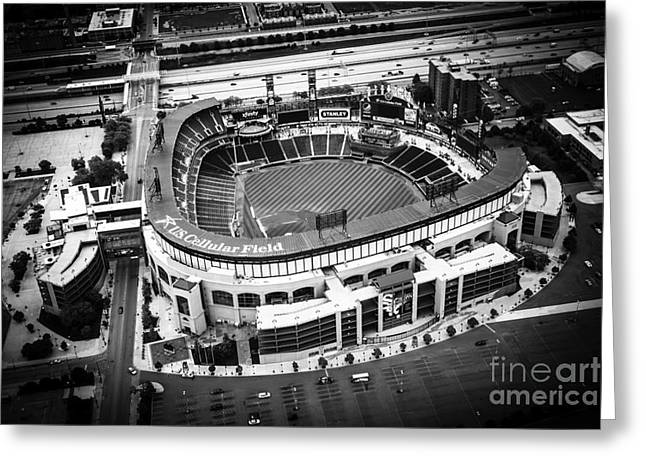 Editorial Greeting Cards - U.S. Cellular Field Aerial Picture in Black and White Greeting Card by Paul Velgos