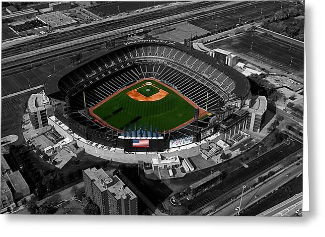 Central Il Greeting Cards - US Cellular Field Chicago Sports 08 Selective Coloring Digital Art Greeting Card by Thomas Woolworth
