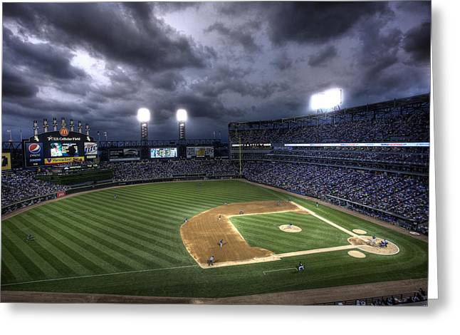 Cellular Greeting Cards - US Cellular Field Twilight Greeting Card by Shawn Everhart
