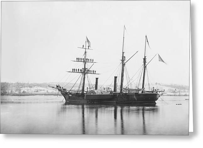 Sailing Ship Greeting Cards - US Civil War steam frigate, 1863 Greeting Card by Science Photo Library