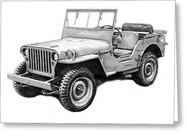 Charcoal Car Greeting Cards - Us classical jeep car in world 2 drawing art poster Greeting Card by Kim Wang