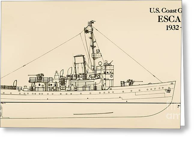 World War 2 Drawings Greeting Cards - U. S. Coast Guard Cutter Escanaba Greeting Card by Jerry McElroy - Public Domain Image