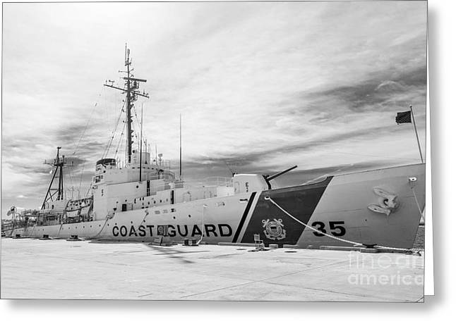 Us Coast Guard Greeting Cards - US Coast Guard Cutter Ingham WHEC-35 - Key West - Florida - Black and White Greeting Card by Ian Monk