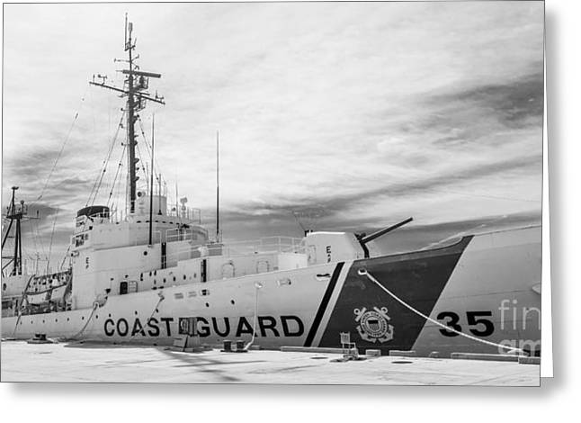 Us Coast Guard Greeting Cards - US Coast Guard Cutter Ingham WHEC-35 - Key West - Florida - Panoramic - Black and White Greeting Card by Ian Monk