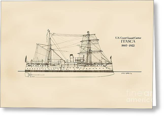 Tall Ships Drawings Greeting Cards - U. S. Coast Guard Cutter Itasca Greeting Card by Jerry McElroy - Public Domain Image